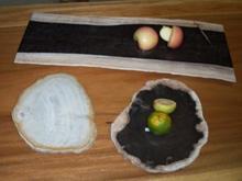 Petrified wood food trays