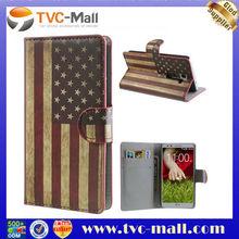 For LG G2 Case,American National Flag Leather Wallet Case For LG G2