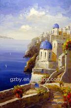 2014 Famous Greece Mykonos Santorini Greek Sun Ocean Water Mediterranean Art Oil Painting