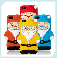 hot selling cute santa claus silicone phone case for iphone 5 5s