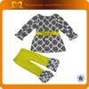 Fashion Baby Clothing Set Grey Moroccan Printed Baby Girl Winter Dresses Christmas Kids Clothing Wholesale