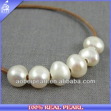9-10mm baroque white big hole freshwater pearls