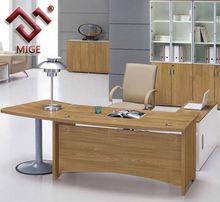 in legno di ciliegio e metallo ufficio tavolo curvo