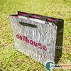 glossy-laminated paper bag with satin handle tote bag gift bag