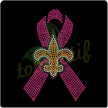 SAINT logo with Pink ribbon rhinestone heat transfer design