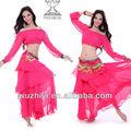 De alta calidad de color de rosa de los estados árabes sexy danza del vientre trajes, caliente la venta profesional de cáscara de gasa de la práctica de la danza del vientre traje qc1571