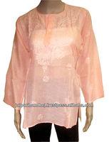 Stylish Embroidered Chikan Kurtis Blouse Shirt Top Tunic Kurtas For Women