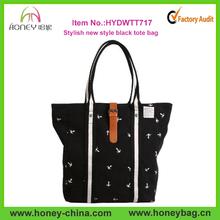 New Simple Style Black Durable Ladies Unique Canvas Tote Bag