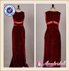 KD-006 Elegant fit and flare wine red velvet evening dress 2013