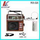 AM FM SW 9 band portable radio with remote control and headset