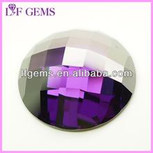Flat bottom fashion round amethyst cubic zirconia gemstones
