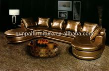 Luxury gold leather living room sofa golden sofa F201#