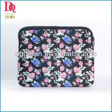 Navy blue flower printing laptop neoprene sleeve