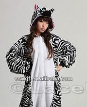 wholesale soft coral fleece zebra print onesies/latest style cartoon zebra costume for adult