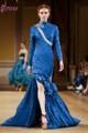 Mais recente lst-006 azul royal sereia gola alta split apliques de cetim elegante manga longa vestidos de noite