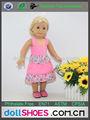 Bonito color rosa de 18 pulgadas vestimenta informal muñeca american girl vestido de la muñeca