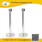 Top grade heavy duty airport retractable webbing barrier,round poles in concrete