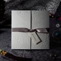 Porte Fold Invitation de mariage carte avec ruban Sash W1108