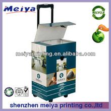 New design 4 wheel foldable shopping cardboard trolley box, cardboard suitcase,shopping trolley