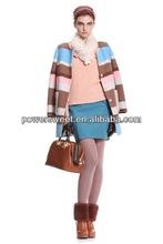 Newest elegant collarless women stripe wool winter coat fashion design 2014