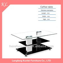 fashion layers design glass coffee table