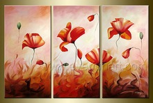 3 pcs Framed Hand-painted Group Wall Decor Art Modern Abstract Flower Oil Painting On Canvas