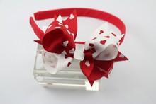Red harts partern top baby headband