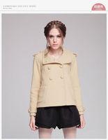 2014 Military Wool-Felt Tweed Ladies Short Pea Coat Design Double Breasted
