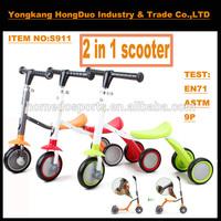 Hot sale multifunction three wheels 2 in 1 bike kick scooter