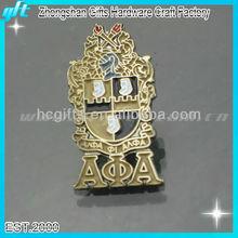 2014 Customized metal memorial lapel pin, gold memorial pin buterfly closure