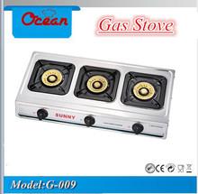 Glass cooktop gas stove 3 burners