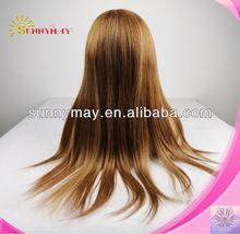3/4 fall half wig virgin brazilian straight hair highlight color #30/#27 for fashion women