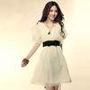 2014 Hot Fashion Women's Lady Short Sleeve Crew Neck Casual cheap chiffon dress pattern