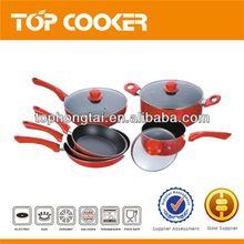 Eco friendly red aluminum non-stick cookware