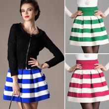 New Fashion Women A line stripes High Waist Skirt Candy color Short Skirt Bubble skirt 3colors 19724
