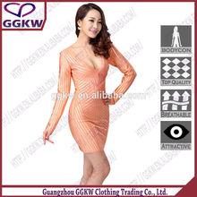 De manga larga vestido de, De color rosa para mujer de la oficina traje, Sexy color de rosa caliente de clubwear del tubo del vestido de la marca de fetis