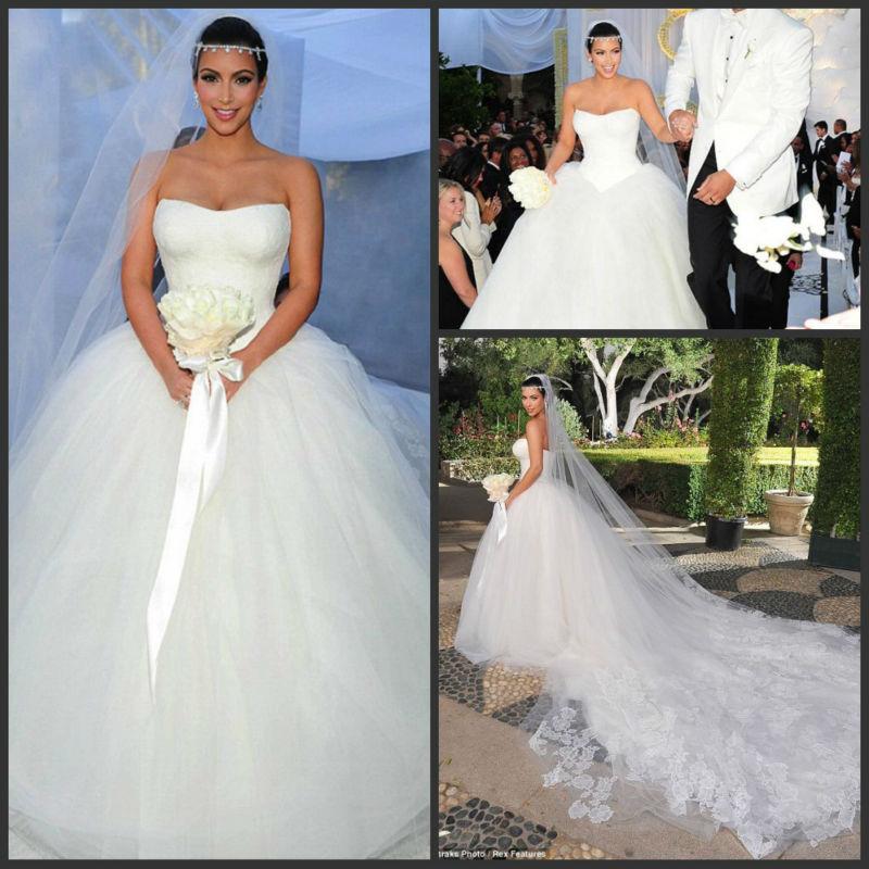 Nouveau Design De Luxe 2014 Tulle Robe De Bal En Organza Avec Kim Kardashian Mariage Long Train