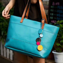 Hot Sale Women New Fashion Solid Candy Colors Simple PU Leather Handbag, Big Shoulder Bags, Solid Totes 7594
