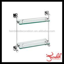 Double 2 tiers decorative wall mount bathroom glass shelves bathroom hardware