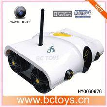 Iphone/controle ipad espião rc tank com wifi câmera de vídeo do carro alarme de espionagem hy0060676