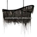 Negro moderno de la cadena de araña de luz suspensión mansión para el proyecto de hotel/de la cadena arte lustre negro dragón