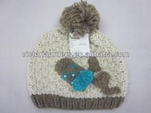 100%acrylic crochet fashion hat with beads and balls
