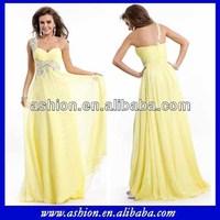 ED-2486 Elegant one shoulder chiffon evening dress for seniors yellow evening dress