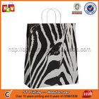 A zebra paper bags with cord handle