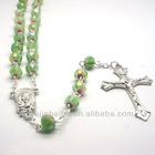 Azure Rosary Necklace with Cross Pendant and Triangle Pendant