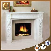 Home decoration elegant natural indoor carved marble fireplace TF047