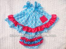 Meninas do bebê quaterfoil balanço topo bloomer set, Moda swim suit
