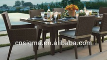 2014 PE Rattan Classic Furniture Wicker Dining Table and Chairs