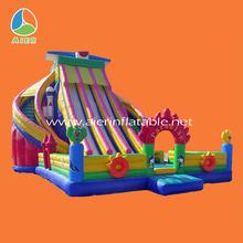 children inflatable pool with slide,tarpaulin for slide giant