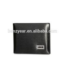 Smooth Black Genuine Leather Metal Logo Card Slots Plastic ID Card Holder Wallet
